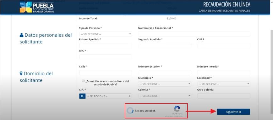 FIGURA 5. RELLENAR CAPTCHA Y DAR CLIC EN CONTINUAR