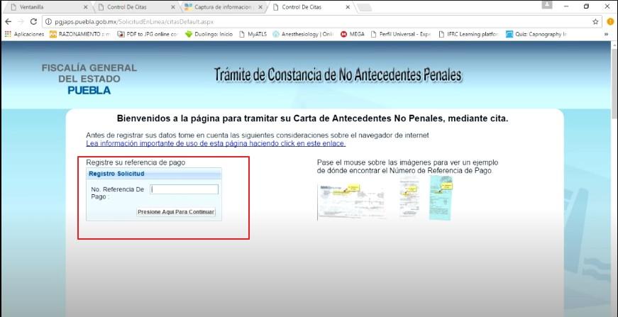 FIGURA 6. TRAMITE DE CONSTANCIA DE ANTECEDENTES NO PENALES