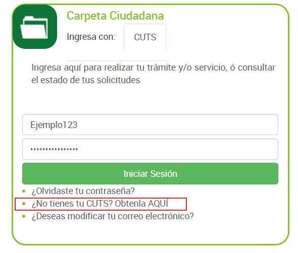 FIGURA 5. SELECCIONAR NO TIENES TU CUTS PARA EL REGISTRO