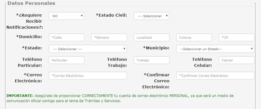 FIGURAS 6. INGRESO DE DATOS PARA EL REGISTRO.